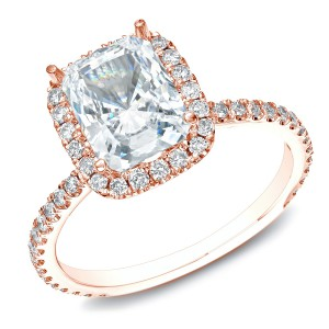 Rose Gold 1 1/2ct TDW Certified Cushion-Cut Diamond Halo Engagement Ring - Handcrafted By Name My Rings™