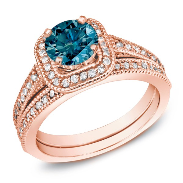 Rose Gold 1ct TDW Blue Diamond Bridal Ring Set   Handcrafted By Name My  Rings™
