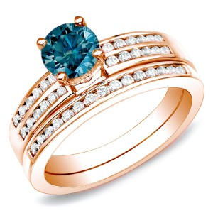 Rose Gold 1ct TDW Blue Diamond Bridal Ring Set - Handcrafted By Name My Rings™