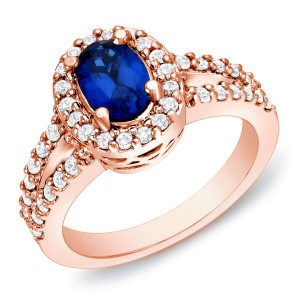Rose Gold 3/5ct TDW Sapphire and Diamond Engagement Ring - Handcrafted By Name My Rings™