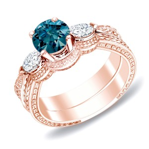 Rose Gold 4/5ct TDW Blue Diamond Bridal Ring Set - Handcrafted By Name My Rings™