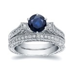 White Gold 1ct Blue Sapphire and 1ct TDW Round Diamond Bridal Ring Set - Handcrafted By Name My Rings™