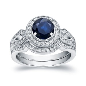 White Gold 1ct Blue Sapphire and 2/5ct TDW Round Diamond Bridal Ring Set - Handcrafted By Name My Rings™