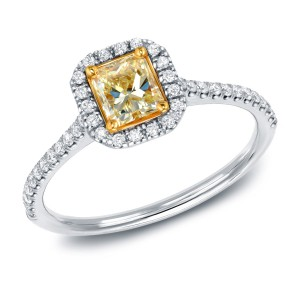 White Gold 3/4ct TDW Certified Radiant-cut Yellow Diamond Halo Engagement Ring - Handcrafted By Name My Rings™