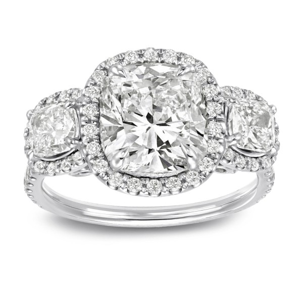 White Gold 4 2 5ct Tdw Certified Cushion Cut Diamond Halo 3 Stone Engagement Ring Handcrafted By Name My Rings