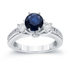 White Gold 7/8ct Blue Sapphire and 3/5ct TDW Round Diamond Ring - Handcrafted By Name My Rings™