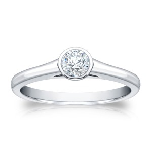 Gold 1/4ct TDW Round Cut Diamond Bezel Solitaire Ring - Handcrafted By Name My Rings™