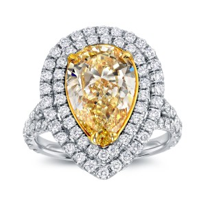 Two-tone Gold 4ct TDW Fancy Yellow Diamond Pear Halo Ring - Handcrafted By Name My Rings™