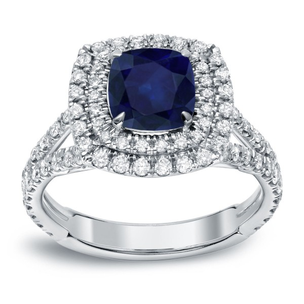 White Gold 1 1/4ct Blue Sapphire and 1ct TDW Diamond Double-Halo Ring - Handcrafted By Name My Rings™