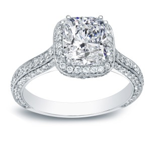 White Gold 2 1/4ct TDW Certified Cushion Cut Diamond Engagement Ring - Handcrafted By Name My Rings™