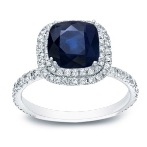 White Gold 2ct Blue Sapphire and 1ct TDW Diamond Double Halo Ring - Handcrafted By Name My Rings™