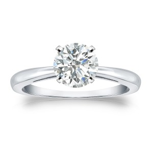 Platinum 1ct TDW Round-cut Diamond Solitaire Engagement Ring - Handcrafted By Name My Rings™