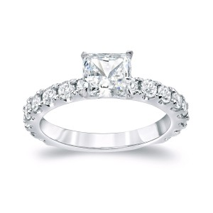 Platinum 2ct TDW Certified Princess Cut Diamond Engagement Ring - Handcrafted By Name My Rings™