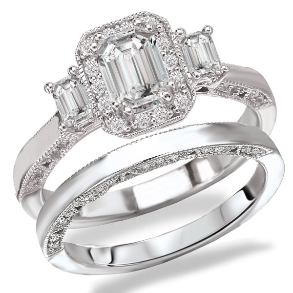 b46e3a85e Rhodium Plated Sterling Silver Cubic Zirconia Emerald Cut Center Three  Stone Look Bridal Set - Handcrafted By Name My Rings™