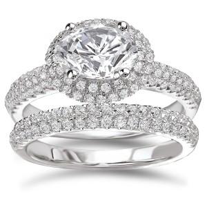 Rhodium-plated Sterling Silver 3 1/8ct Cubic Zirconia Oval Pave Halo Bridal Ring Set - Handcrafted By Name My Rings™