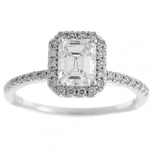 White Gold 1 1/4ct TDW Diamond Emerald Cut Halo Engagement Ring - Handcrafted By Name My Rings™