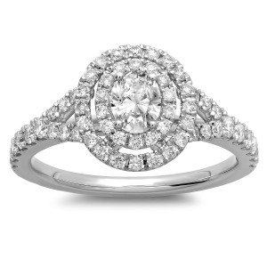 White Gold 1ct TDW Oval Diamond Double Halo Engagement Ring - Handcrafted By Name My Rings™