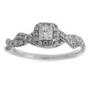 White Gold 3/5ct TDW Diamond Princess-cut Halo Engagement Ring - Handcrafted By Name My Rings™