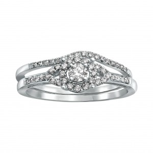 White Gold 1/3ct TDW Bridal Halo Engagement Ring Set - Handcrafted By Name My Rings™