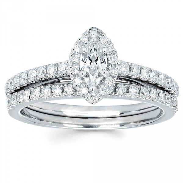 Diamonds White Gold 1/4ct TDW Marquise Diamond Halo Wedding Engagement  Bridal Ring Set   Handcrafted By Name My Rings™