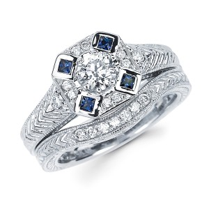 Diamonds White Gold 3/5ct TDW Diamond and Blue Sapphire Bridal Ring Set - Handcrafted By Name My Rings™