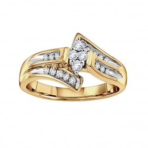 Two-tone 10kt Gold 1/ 4ct TDW Diamond Cluster Engagement Ring - Handcrafted By Name My Rings™