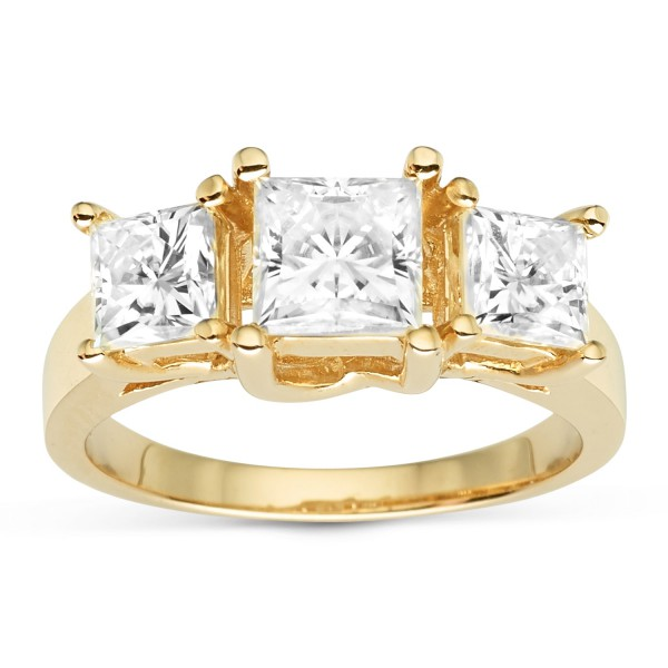272f487d40c56 Charles & Colvard Gold 2.20 TGW Square Forever Brilliant Moissanite 3-Stone  Ring - Handcrafted By Name My Rings™