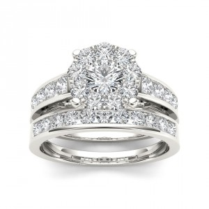 Gold 1 1/2ct TDW Diamond Engagement Ring Set - Handcrafted By Name My Rings™