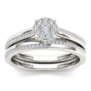 Gold 1/3ct TDW Diamond Engagement Ring Set - Handcrafted By Name My Rings™