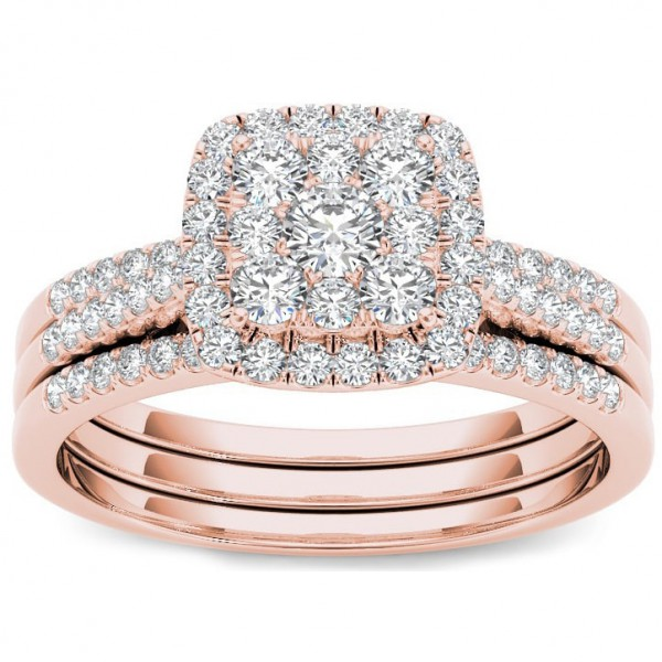 Awesome Rose Gold 1/2 Ct TDW Diamond Halo Engagement Ring Set   Handcrafted By Name  My Rings™