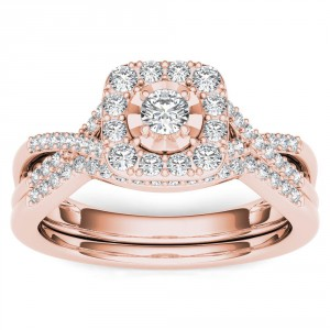 Rose Gold 2/5ct TDW Diamond Halo Engagement Ring Set with One Band - Handcrafted By Name My Rings™