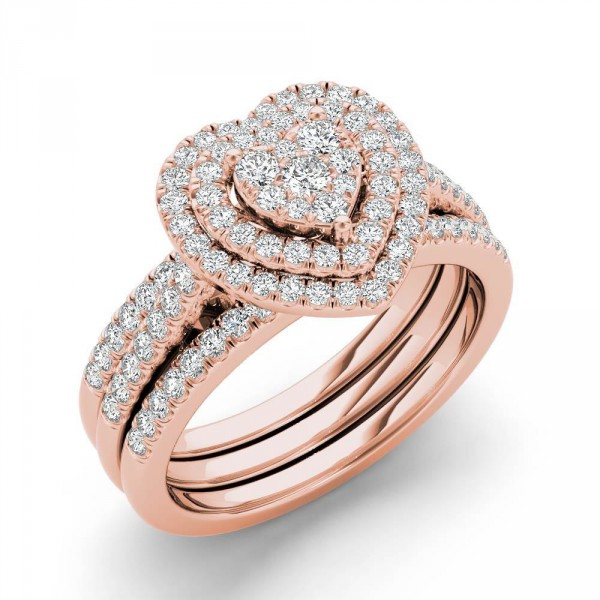 Rose Gold 3 4ct Tdw Heart Shaped Cer Halo Bridal Set Handcrafted By Name My Rings