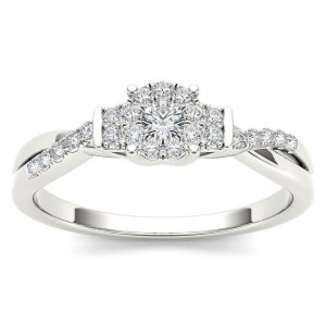 White Gold 1/4ct TDW Diamond Three-Stone look Engagement Ring - Handcrafted By Name My Rings™