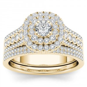 Gold 1ct TDW Diamond Double Halo Engagement Ring Set with One Band - Handcrafted By Name My Rings™