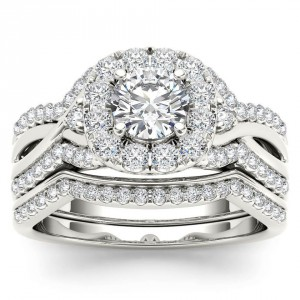 White Gold 1 1/4ct TDW Diamond Halo Engagement Ring Set with One Band - Handcrafted By Name My Rings™