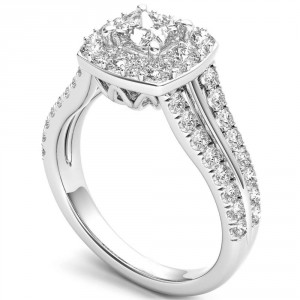 White Gold 1 ct TDW Diamond Halo Ring - Handcrafted By Name My Rings™