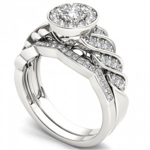 White Gold 1/2ct TDW Halo Bridal Set - Handcrafted By Name My Rings™