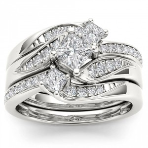White Gold 1ct TDW Diamond Bridal Ring Set - Handcrafted By Name My Rings™