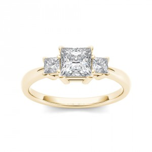 Gold 1 1/4ct TDW Diamond Three-Stone Anniversary Ring - Handcrafted By Name My Rings™