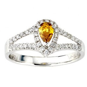 Diamonds for a Cure White Gold 5/8ct TDW Orange Pear-cut Diamond Ring - Handcrafted By Name My Rings™