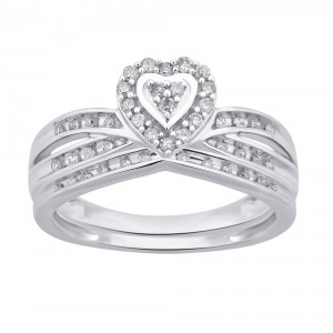 White Gold 1/4ct TDW White Diamond Heart Shape Bridal Set - Handcrafted By Name My Rings™