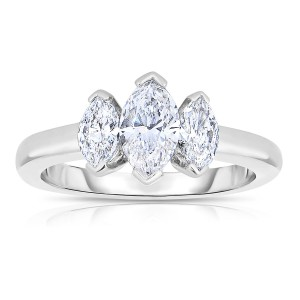 Platinum 1 1/5ct TDW Diamond Three Stone Wedding Ring - Handcrafted By Name My Rings™