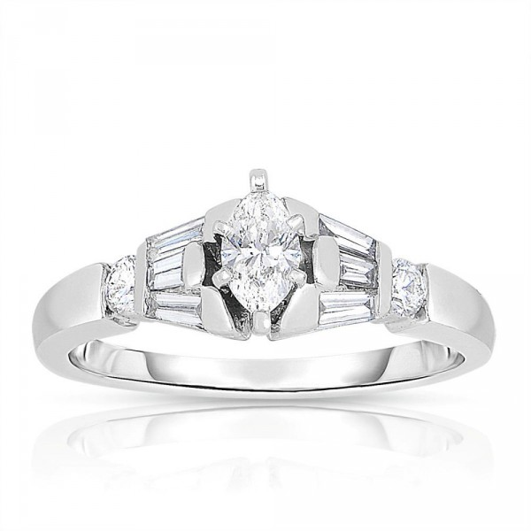 Platinum 5 8ct Tdw Marquise Cut Solitaire Diamond Engagement Ring Handcrafted By Name My Rings