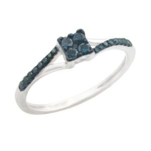 Fabulous 0.19ct Round Brilliant Cut Blue Color Traterd Natural Diamond Engagement Ring - Handcrafted By Name My Rings™