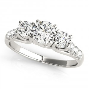 JewelMore White Gold 1/2ct TDW White Diamond Three-Stone Engagement Ring - Handcrafted By Name My Rings™