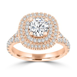 La Vita Vital Rose/ White Gold 1 4/5ct TDW Double Halo Diamond Engagement Ring - Handcrafted By Name My Rings™