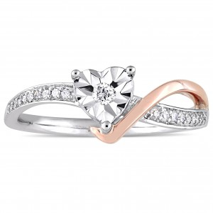2-Tone White and Rose Gold 1/10ct TDW Diamond Heart-Shaped Crossover Engagement Ring - Handcrafted By Name My Rings™