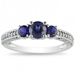 Gold Created Sapphire and 1/6ct TDW Diamond Ring - Handcrafted By Name My Rings™