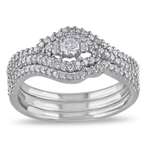 White Gold 1/2ct TDW Diamond Bridal Set - Handcrafted By Name My Rings™