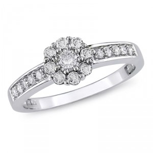 White Gold 1/2ct TDW Diamond Halo Engagement Ring - Handcrafted By Name My Rings™